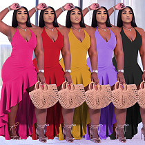 2021 Summer Fashion Solid Color Ruffles Irregular Halter V Neck Sleeveless Elegant Club Plus Size Dress YUHAN-8071