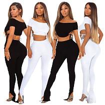 2021 Summer Solid Women Off Shoulder Short Sleeve Crop Tops Tshirt Leggings Pants Fitness Two Piece Set ASL-6375