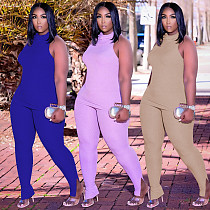 Fashion Streetwear Women's Solid Color Turtleneck Sleeveless Top Pencil Pants Two Piece Outfits YUHAN-8063