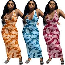Women Summer Fashion Tie Dye Print V-neck Sleeveless Sexy Night Party Bodycon Long Dresses ME-882