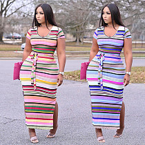 Plus Size Women Knitted Rainbow Striped Short Sleeve High Waist Side Slit Bodycon Streetwear Maxi Dress YUHAN-8077