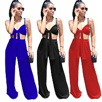 Sexy Solid Color Spaghetti Straps Bandage Wrap Chest Crop Top Loose Long Pants Two Piece Set MEI-9183