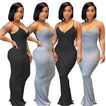 Sexy Solid Color Sleeveless Spaghetti Straps V Neck Bodycon Women Summer Clubwear Party Long Maxi Dress JR-3629