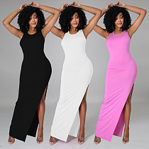 Fashion Solid Color Skinny Sleveless High Waist Split Backless Streetwear Summer Package Hip Bodycon Dresses JP-1046