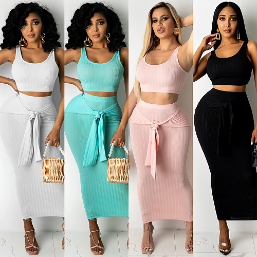 Women Summer Clothing Solid Sleeveless Vest Crop Top Bodycon Long Skirts Sexy Club Party Two Piece Set BY-5125