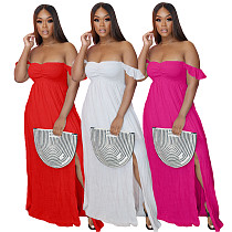 Woman Vintage Elegant Solid Color Off Shoulder Ruffled Short Sleeve Split Slim Bohemian Long Dress AIL-158
