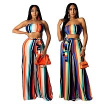 Fashion Colorful Striped Print Wrap Chest Crop Top+Wide Leg Pant Summer Women Two Piece Outfits SMR-10267