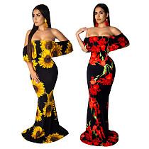 Fashion Flower Print Off Shoulder Short Sleeve Backless Skinny Holiday Maxi Long Party Dresses SMR-9274