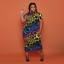 Women Fashion Plus Size Printed Bodycon Skinny Short Sleeve O Neck Elegant Bodycon Long Dress OSS-21109