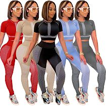 Women Fitness Clothing Short Sleeve O Neck Crop Top Shirts Leggings Summer Sportswear Two Piece Outfits XUH-5047