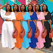 Plus Size Women Solid Color Casual Short Sleeve Crop Top Loose Wide Leg Pants With Under Panties 3 Piece Set HZM-7206