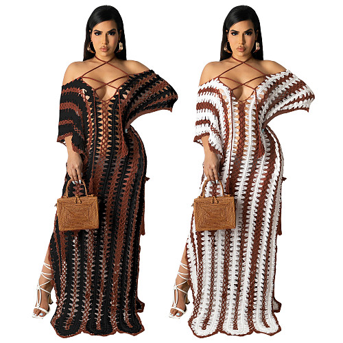 Women Crochet Knitted Hollow Out See Through Bikinis Cover Up Loose Summer Beach Long Dress MA-429