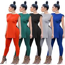 Casual Solid Color Women Lounge Wear Side Slit T-shirt Top Leggings Bodycon Joggings Two Piece Set OY-6288