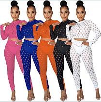 Women Solid Color Mesh Transparent Long Sleeve O Neck Crop Top High Waist Leggings Club 2 Piece Outfits LA-3278