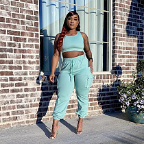 Summer Women Tracksuit Solid Color Sleeveless Crop Top Cargo Pants Fitness Two Piece Matching Sets RUM-8929