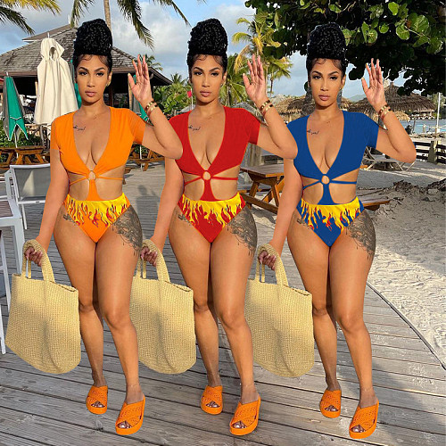 Sexy Summer Hot Pattren Print Short Sleeve Deep V Neck Hollow Out Bodycon Beachwear Bodysuits HB-4007