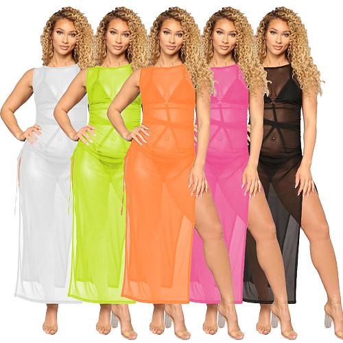 Sexy Women's Mesh Sheer Solid Sleeveless See-Through Side Drawstring Split Cover-Ups Long Maxi Dress SMR-10042
