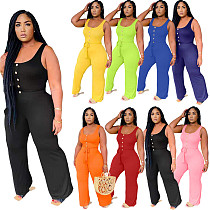 Plus Size Casual Solid Color Summer Women's Streetwear Sleeveless High Waist Wide Leg Jumpsuits HM-6330
