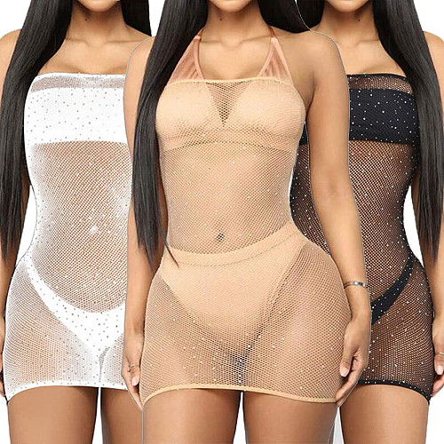 Sexy Solid Color Mesh Perspective Summer Tight-Fitting Wrapped Chest Strapless Beach Cover Up Dress SMR-10045
