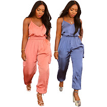 Summer Casual Sleeveless Solid Color Elastic Waist Spaghetti Straps Pocket Overalls Cargo Jumpsuit JC-7060