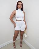 Hot Sales Women Sexy Sleeveless Turtleneck Side Slit Bandage Crop Top Biker Shorts Casual Two Piece Set LQ-033