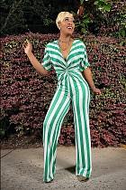 Sexy Women Summer Deep V-Neck Stripe Short Sleeve High Waist Wide Leg Elastic Loose Jumpsuit TB-5293