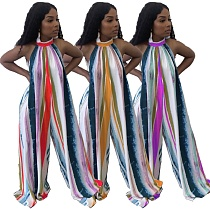 2021 Summer Polyester Backless Halter Style Tie Dye Striped Floor Length Loose Womens Jumpsuit CYAO-00012