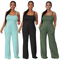 Casual Solid Color Summer Women's Sleeveless High Waist Streetwear Straight Leg jumpsuits PIN-8600