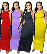 Fashion Solid Color Sleeveless O-Neck High Waist Summer Party Clubwear Outfit Bodycon Long Dress DAI-8352