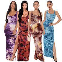 Hot Sales Women Summer New Tie Dye Print Sleeveless Bodycon Classic Beach Holiday Long Dresses SMR-10123