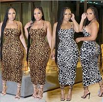 Fashion Leopard Print Women's Sexy Sleeveless Summer Backless Halter Bandage Bodycon Long Dress BGN-170