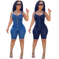 Vintage Streetwear Solid Color Sleeveless Front Zipper Elastic Mid Waist Skinny Pencil Jeans Denim Rompers KDN-2182