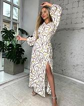 2021 Spring Autumn Women Casual Printed Long Sleeve V Neck Bandage Split Loose Elegant Maxi Long Dress CY-2458