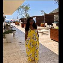 Summer Fashion Women's High Streetwear Floral Print Loose Sling Spaghetti Straps Deep V Neck Long Dresses LSL-6167