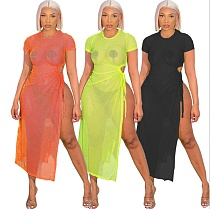 Women Summer Sexy Solid Color Mesh See Through Hollow Out High Split Short Sleeve O Neck Long Party Dress FNN-8614