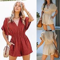Elegant Women Summer Solid Color Short Sleeve V Neck Elastic High Waist Loose Fitting Casual Romper SN-11743