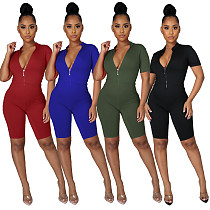 2021 Women Solid Color Front Zipper Stand Collar Short Sleeve Sexy Bodycon Knee Length Fitness Rompers SMR-10096