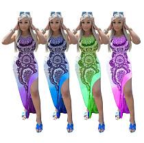 2021 New Summer Sexy Backless Bohemian Print Sleeveless Side Split High Waist Skinny Party Long Dress MEM-88366