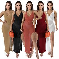 Elegant Solid Color Deep V Neck Side Split Stretch Sleeveless Summer Party Sexy Bodycon Beach Long Dress SMR-10105