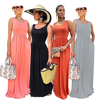 Summer Solid Color Elegant One Piece Sleeveless O Neck Elastic High Waist Womens Clothes Maxi A-Line Dress SFY-004-1