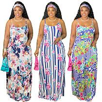 Women Casual Floral Print Sleeveless Spaghetti Straps Summer Sexy Boho Large Hem Loose Maxi Dresses With Headscarf XMY-9306