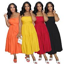 Women 2021 Elegant Summer Backless Bandage Solid Color Sleeveless A-Line Sling Long Cake Dress AIL-161