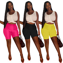 2021 Women Summer Solid Color Sleeveless Bandage Crop Top Skinny Shorts Party Clubwear 2 Piece Set QIM-7052