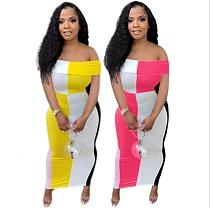 Plus Size Summer Fashion Contrast Color Patchwork Off Shoulder Short Sleeve Woman Clothes Bodycon Long Dress QIY-5060