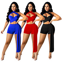 Summer Sexy Solid Color Sleeveless Halter Hollow Out High Waist Irregular Patchwork Bodycon Womens Romper SZ-8100