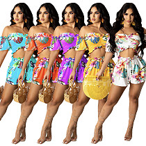 Women Set Floral Print Off Shoulder Short Sleeve Crop Tops Loose Shorts Fashion Outfits Summer 2 Piece Sets FE-142