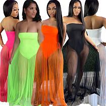 Summer Fashion Strapless Sleeveless Mesh Patchwork Sexy See Through Club Beach Wear Long Maxi Dress ME-854