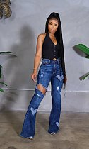 2021 New Style High Quality Clothing High Waist Washed Make Old Hole Fashion Elastic Denim Flare Jeans LA-3280