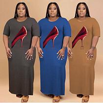 Plus Size Loose Streetwear Fashion Pattern Print Short Sleeve O Neck Side Slit Women Summer Long Dress HB-4002