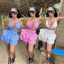 Women Clothing Fashion Dot Print Halter Bandage Bra Ruffle Loose Shorts Summer Beachwear Two Piece Sets SWXY-8862